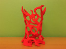 Gyroid Toothbrush Holder in Red Strong & Flexible Polished