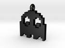 Pacman Pendant - Ghost (rounded corners) in Matte Black Steel