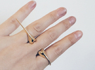 Beetle Horn Spike Ring in Polished Brass: 6 / 51.5
