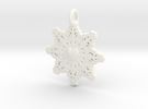 Heart Snowflake Keychain in White Strong & Flexible Polished