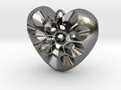 161121 Pollen Heart Pendant V02 in Polished Silver