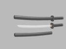 Wakizashi - 1:6 scale - Curved Blade - Tsuba in Frosted Ultra Detail