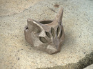 Polygonal cat ring: size 9 (US) S (UK) in Polished Bronze Steel