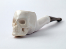 Skull Tobacco Pipe in Gloss White Porcelain