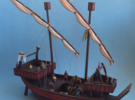 Medieval Ship No Cargo Pegs in White Strong & Flexible