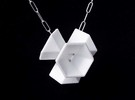 Hexagon Flower Pendant in White Strong & Flexible Polished