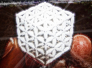 """3-D FLOWER OF LIFE """"META-CUBE"""" in White Strong & Flexible Polished"""