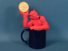 Coffee mug-sized golf ball devil  in Red Strong & Flexible Polished