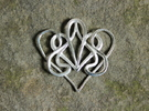 Nouveau Swirl Heart Pendant in Polished Silver