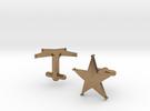 Sheriff's Star Cufflinks (1) Silver,Brass, or Gold in Raw Brass