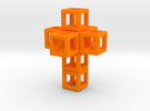 SCULPTURE 3d-Cross 40 mm. Fits in HyperCube Stand  in Orange Strong & Flexible Polished