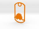 Stegosaurus dog tag in Orange Strong & Flexible Polished