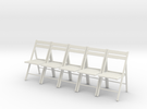 5 1:24 Wooden Folding Chairs in White Strong & Flexible