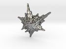 3D Fractal Snowflake Pendant in Polished Silver