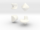 SirisC dice set in White Strong & Flexible Polished