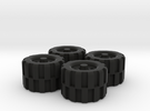 28mm Scale Off Road Tire Set in Black Strong & Flexible