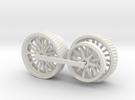 1000-1 Fowler Plough Engine Wheels 1:87 in White Strong & Flexible