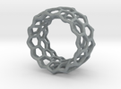 Honeycomb Ring US8 in Polished Metallic Plastic