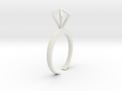 Little Diamond ring  - standard size in White Strong & Flexible