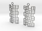 Tatami Earrings in Raw Silver