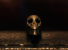 Hidden Anamorphic Skull Optical Illusion in Stainless Steel