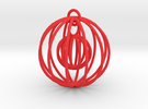 Christmas Sphere with moving Miniature in Red Strong & Flexible Polished