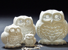 Stelliform Owl - Large Size in White Strong & Flexible Polished