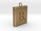 Scrabble Charm or Pendant B blank back Pendant in Polished Gold Steel