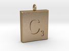 scrabble Charm or Pendant C blank  in Polished Gold Steel