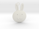 Happy Grief Bunny Pendant in White Strong & Flexible