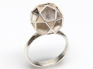 Polyhedron Ring Size 6 in Polished Silver