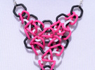Magenta, Black and White Mesh Pendant in Full Color Sandstone