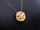 Key of Time Pendant (#1674) in Polished Gold Steel