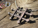 Zinc Alchemy Symbol Pendant  in Polished Grey Steel