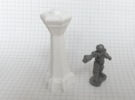 Spaceport Control Tower (1/285) in White Strong & Flexible Polished
