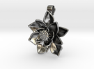 Sacred Lotus Pendant - 3 cm in Polished Silver