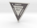 2.5 inch KeyChain DANGER EJECTION SEAT White on Bl