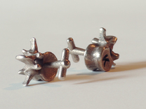 Lumbar Vertebra Cufflinks - Uninscribed in Stainless Steel