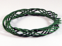 Twist Bangle C02M in Green Strong & Flexible Polished