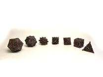 Steampunk Polyhedral Dice Set in Matte Bronze Steel