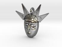 venetian carnival mask pendant in Polished Silver