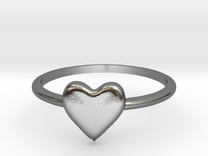 Heart-ring-solid-size-13 in Polished Silver