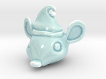 Porcelain Mouse Head Ornament in Gloss Celadon Green Porcelain