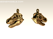 T Rex skull earring in White Strong & Flexible