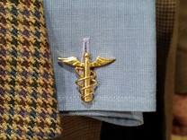 Doctor's Caduceus Cufflinks in 14k Gold Plated