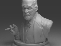 Sigmund Freud Bust 50mm in White Strong & Flexible