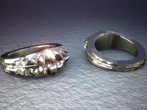 Alien Bite Ring in Polished Silver