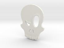 Eyebrow Skull Pendant in White Strong & Flexible
