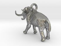 Elephant Charm in Raw Silver