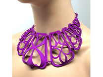 Flow Design Cleopatra Style Statement Necklace in Purple Strong & Flexible Polished